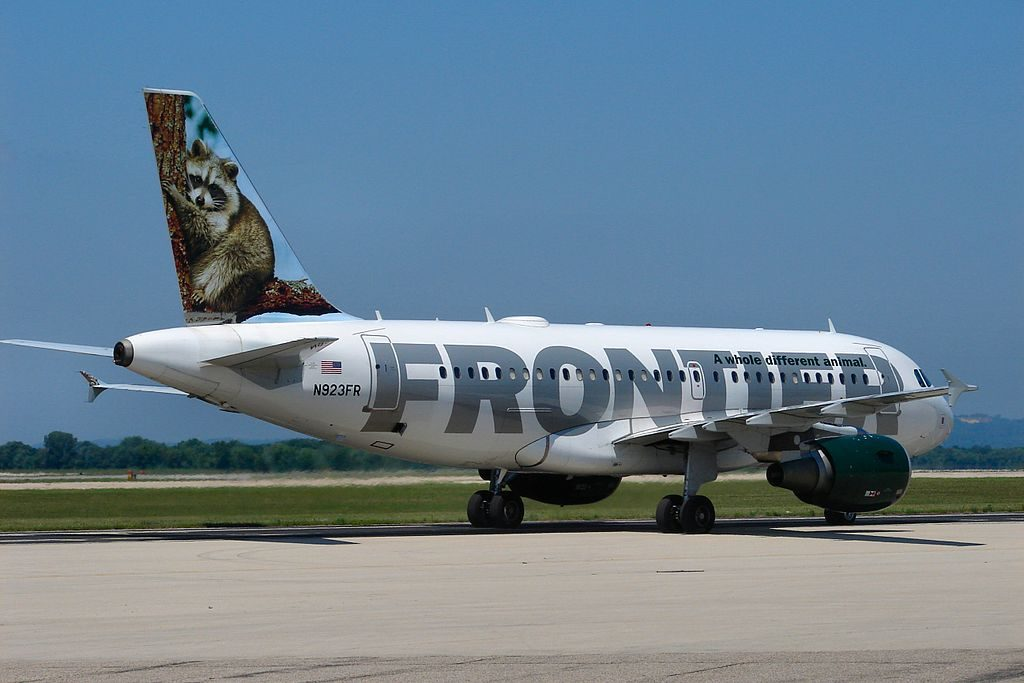 Airbus A319 111 cnserial number 2019 Frontier Airlines Fleet N923FR Rudy raccoon at La Crosse Regional Airport