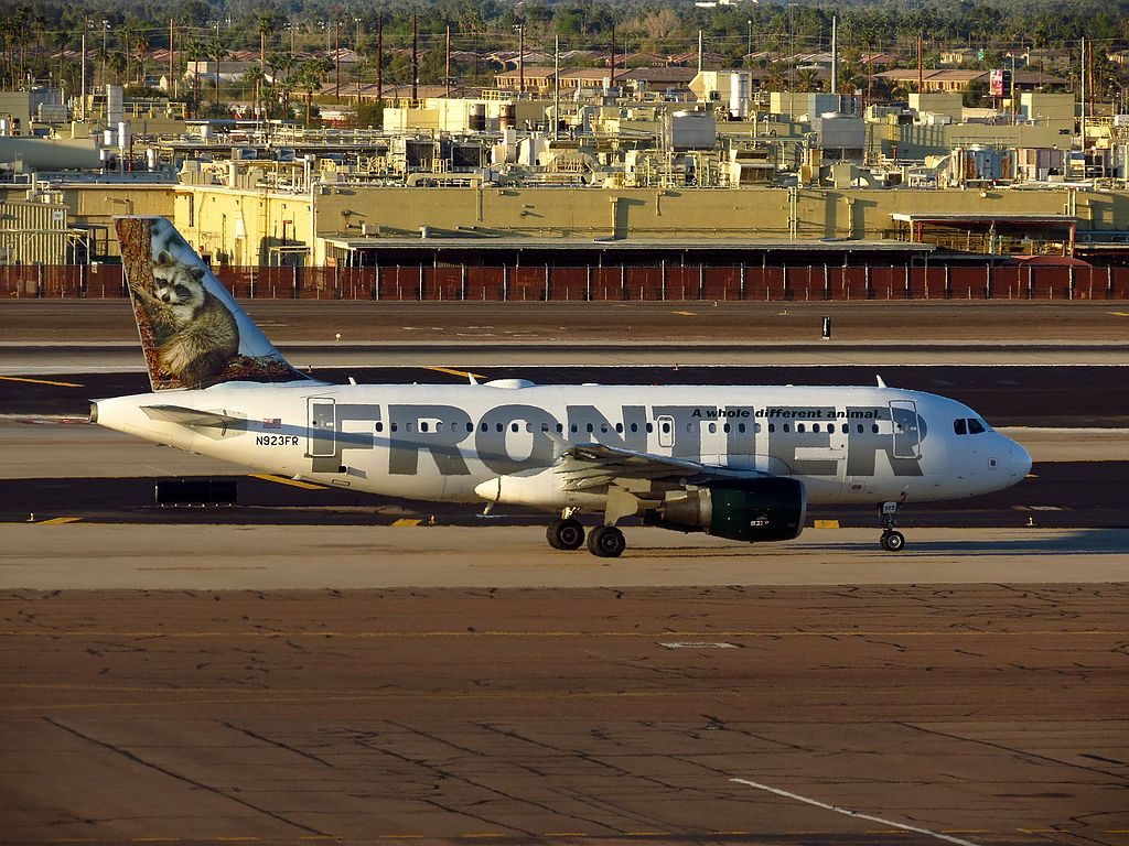 Airbus A319 111 cnserial number 2019 Frontier Airlines Fleet N923FR Rudy raccoon at Phoenix Sky Harbor International Airport