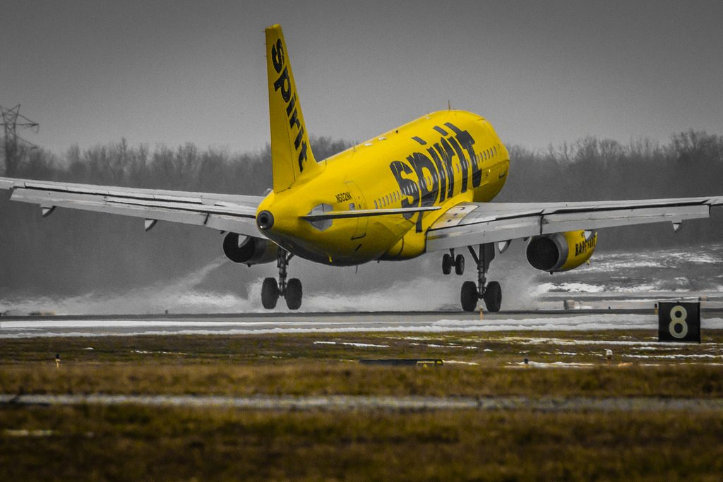 Airbus A319 132 cnserial number 2433 Spirit Airlines N502NK landing at Cleveland Hopkins International Airport
