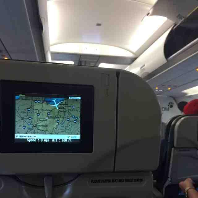 Airbus A320 200 Frontier Airlines backseat live tv monitor photos
