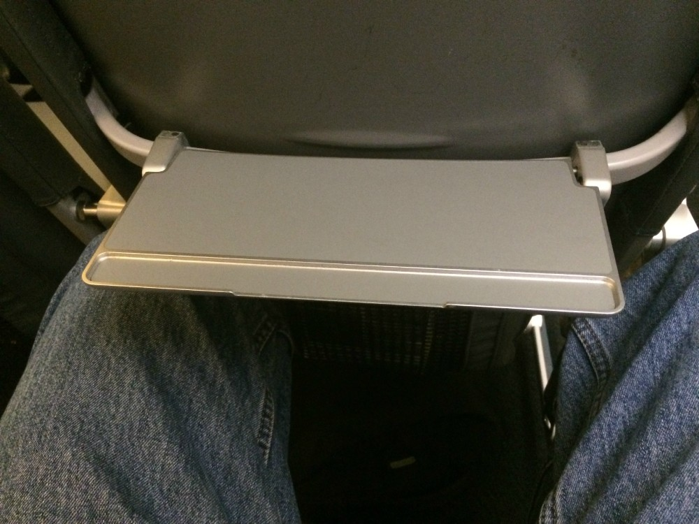 Airbus A320 200 Frontier Airlines backseat tray table photos