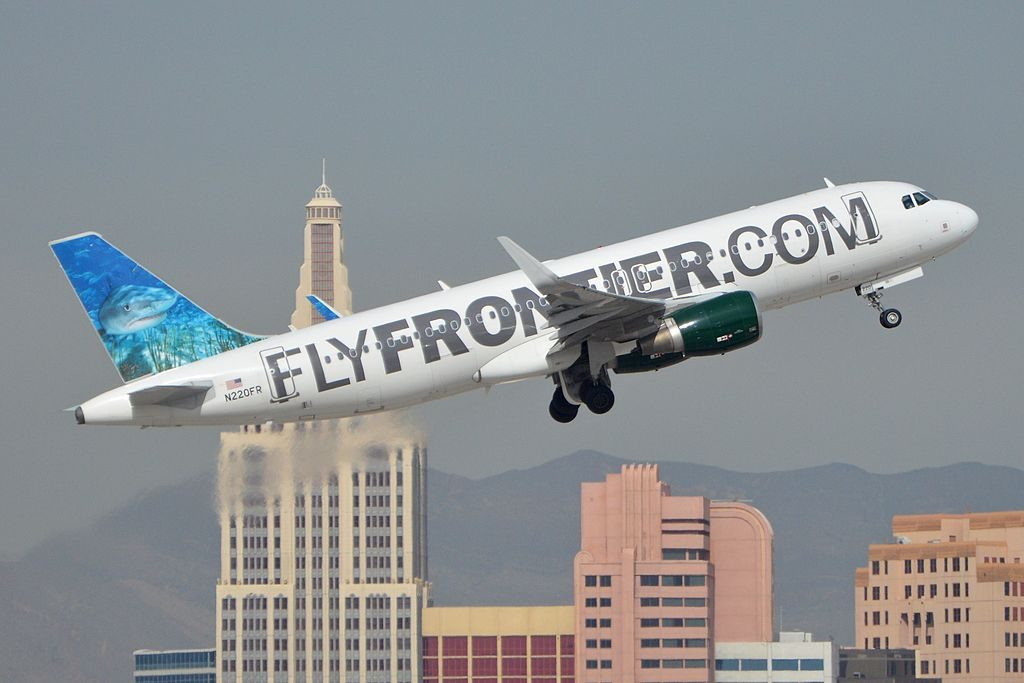Airbus A320 214w N220FR Finn Frontier Airlines departing McCarran International Airport