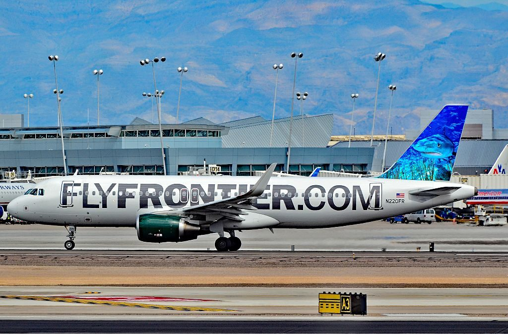 Airbus A320 214w N220FR Finn Frontier Airlines first Sharklet equipped aircraft at McCarran International Airport