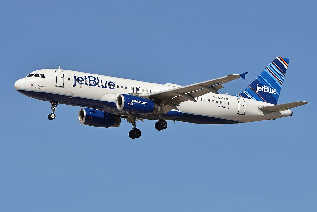 Airbus A320 232 N597JB JetBlue Airways For The Love of Blue arriving on flight JBU1077 from Boston at McCarran International Airport