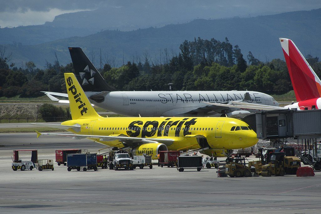 Airbus A320 232 Spirit Airlines Fleet N613NK on boarding gate at El Dorado International Airport