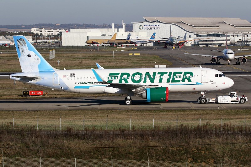 Airbus A320neo Frontier Airlines Fleet N304FR Jack the Rabbit at Toulouse–Blagnac Airport