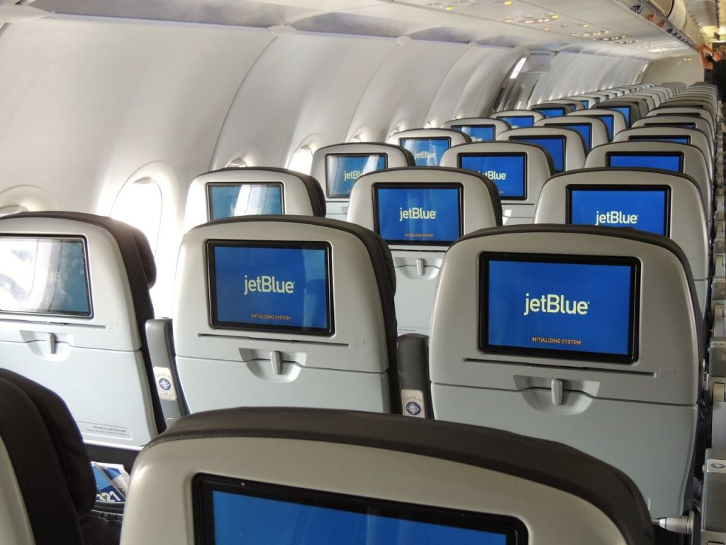 Airbus A321 200 JetBlue Airways Economy Cabin Interior with HD IFE screen on each seats