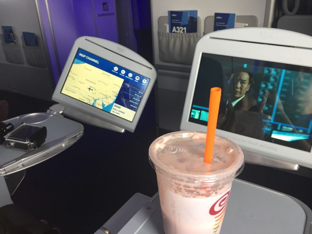 Airbus A321 200 JetBlue Airways Economy Cabin Premium Eco Even More Space Seat inflight drink order services