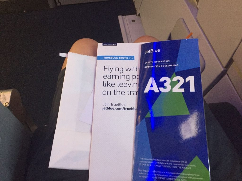 Airbus A321 200 JetBlue Airways Economy Cabin Premium Eco Even More Space Seat pocket literature