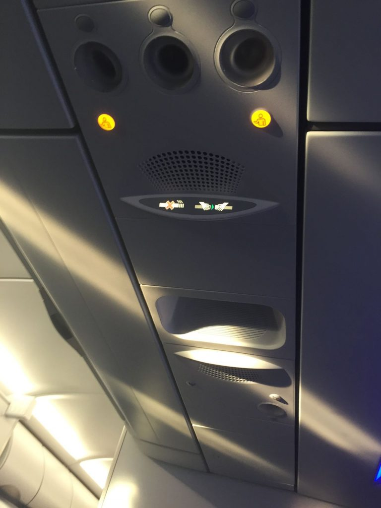 Airbus A321 200 JetBlue Airways Economy Cabin Premium Eco Even More Space personal air vents and overhead panel