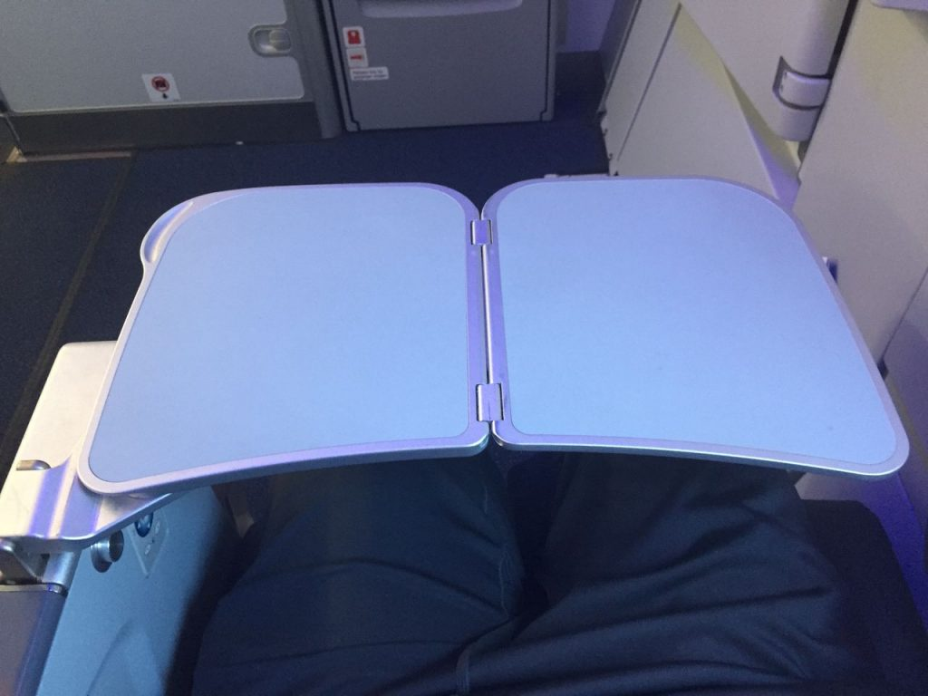 Airbus A321 200 JetBlue Airways Economy Cabin Premium Eco Even More Space tray table folds out from the armrest