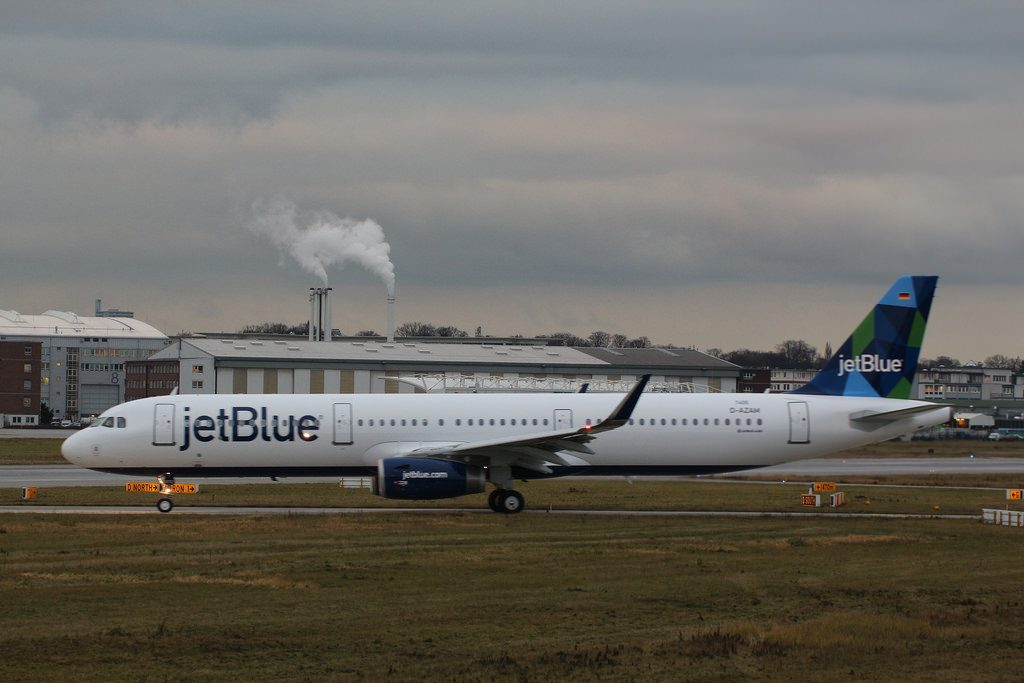Airbus A321 200 JetBlue Airways N972JT Just Plane Blue at Hamburg Finkenwerder Airport
