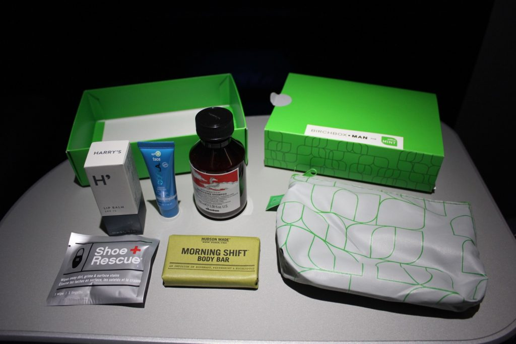 Airbus A321 200 JetBlue Mint Suite Business Class Inflight Amenities Birchbox kit body bar lip balm shampoo sunscreen and shoe wipes