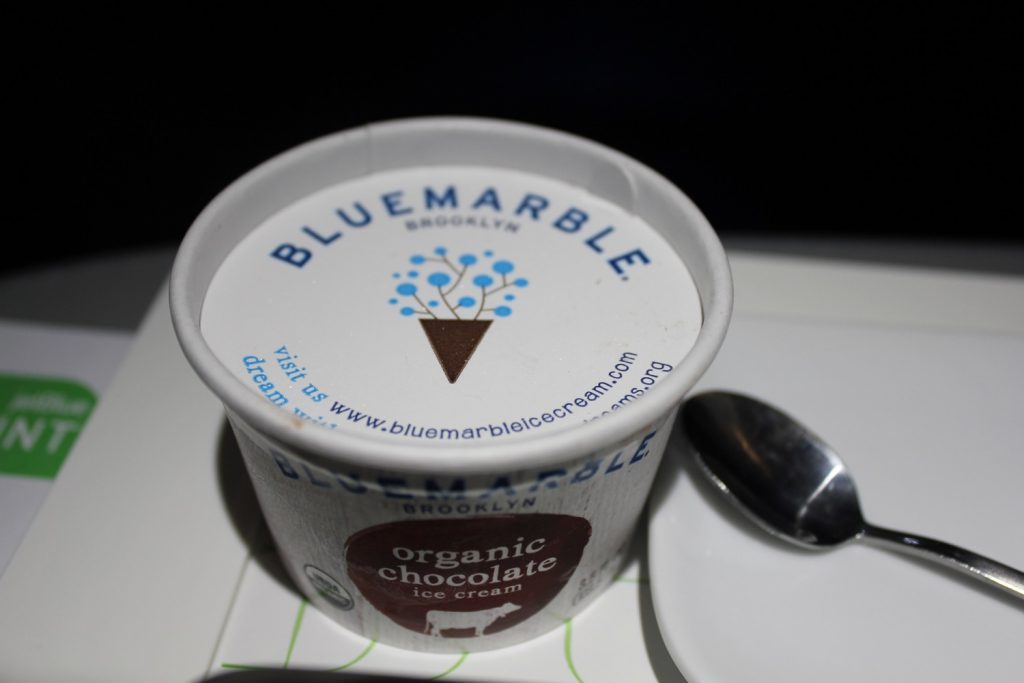 Airbus A321 200 JetBlue Mint Suite Business Class Inflight Meal food Services organic Blue Marble chocolate ice cream