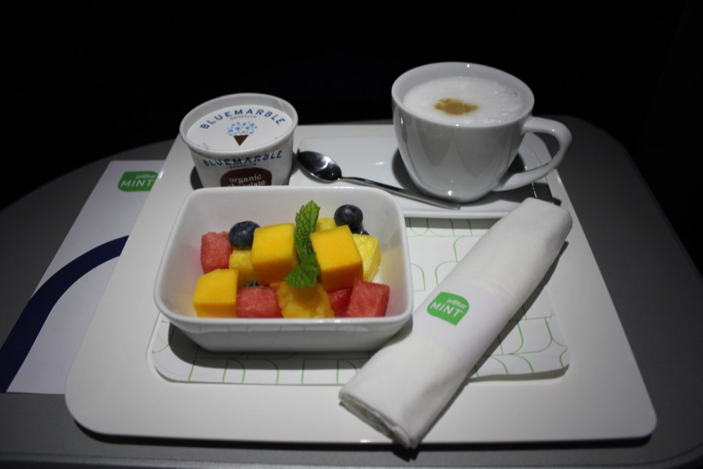 Airbus A321 200 JetBlue Mint Suite Business Class Inflight Meal food Services sweet and ripe fruit salad