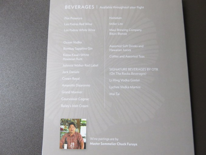 Airbus A330 200 Hawaiian Airlines Domestic First Class Cabin Beverages Services Menu