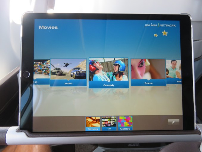 Airbus A330 200 Hawaiian Airlines Domestic First Class Cabin Inflight Entertainment System Movies TV and Games Selection