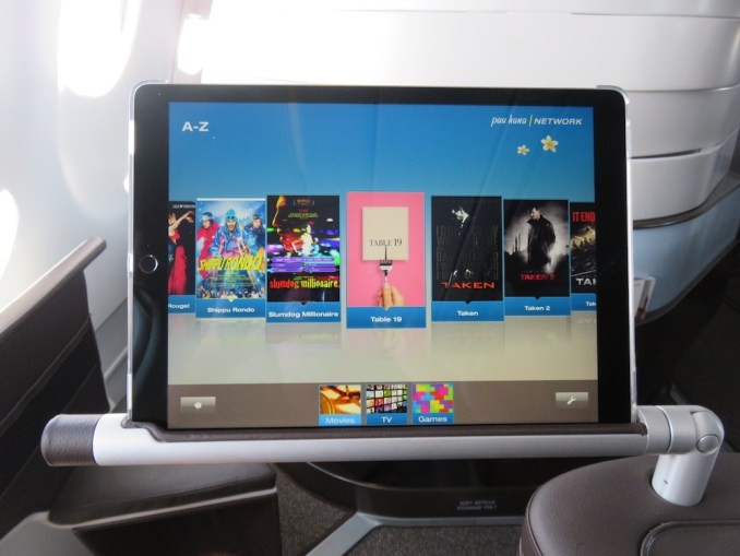 Airbus A330 200 Hawaiian Airlines Domestic First Class Cabin Inflight Entertainment System large tablets attached to an in seat metalic arm