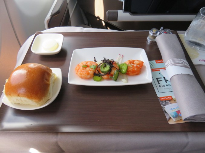 Airbus A330 200 Hawaiian Airlines Domestic First Class Cabin Meals Food Lunch Starter Menu