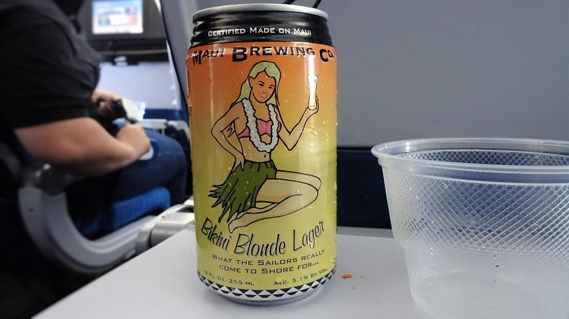 Airbus A330 200 Hawaiian Airlines Economy Class Cabin Inflight Food and Beverages Services beer Maui Brewing Co and Wine 1