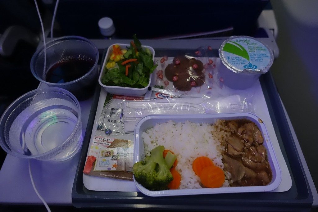 Airbus-A330-200-Hawaiian-Airlines-Extra-Comfort-Class-Cabin-Services-Inflight-Meal-Teriyaki-Chicken-with-salad-and-chocolate-brownie