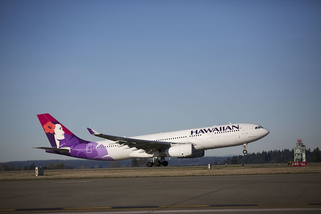 Airbus A330 243 cnserial number 1488 Hawaiian Airlines Fleet 2014 N396HA Keoe landing and takeoff at Seattle–Tacoma International Airport IATA SEA ICAO KSEA FAA LID SEA