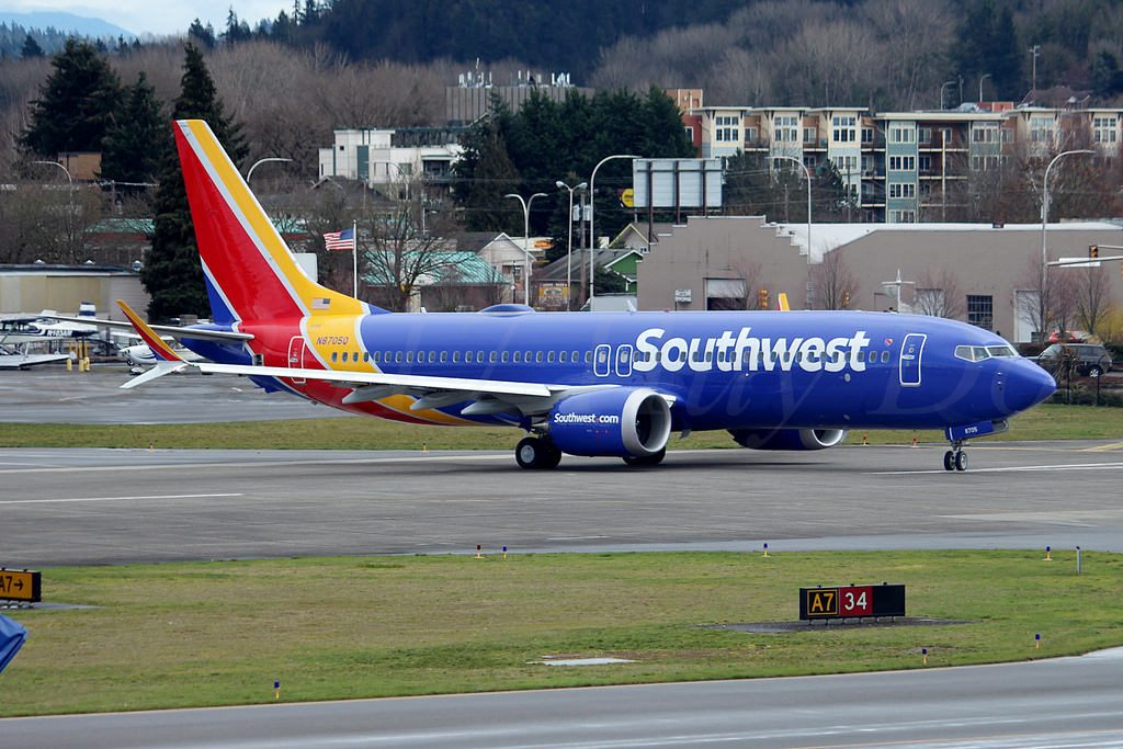 Boeing 737 MAX 8 Southwest Airlines N8705Q at Renton Municipal Airport