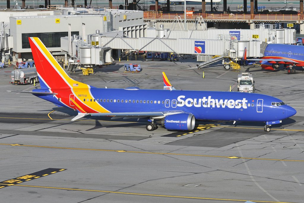 Boeing 737 MAX 8 Southwest Airlines N8711Q heads out from San Francisco International Airport