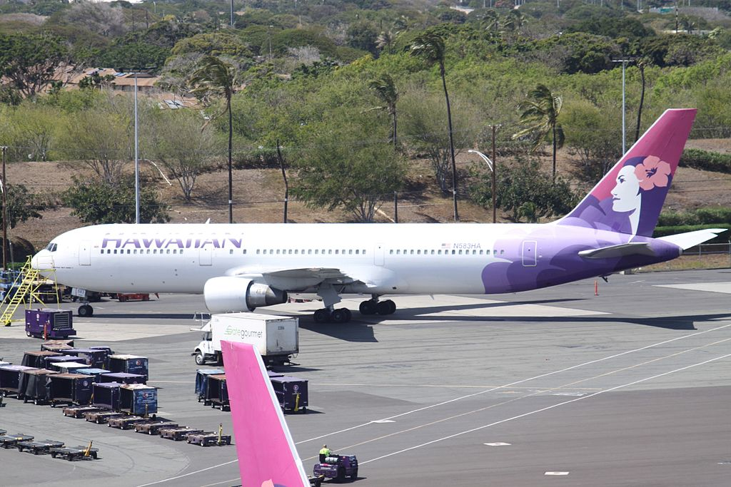 Boeing 767 33AER cnserial number 25531423 N583HA A Hawaiian Airlines Fleet Parking at Honolulu International Airport