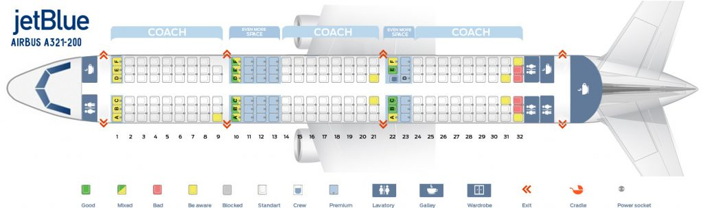 Cabin Configuration V1 Seat Map and Seating Chart Airbus A321 200 JetBlue Airways