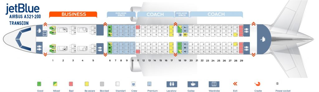 Cabin Configuration V2 Transcon Seat Map and Seating Chart Airbus A321 200 JetBlue Airways