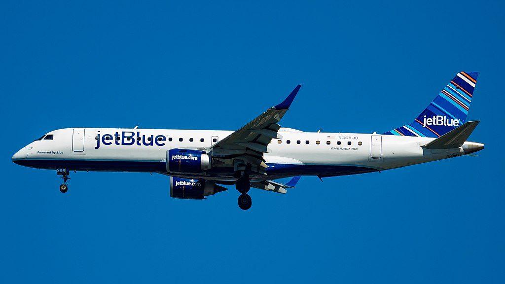 Embraer ERJ190 100AR N368JB Powered by Blue JetBlue Airways Regional Jet Aircraft Fleet at John F. Kennedy International Airport