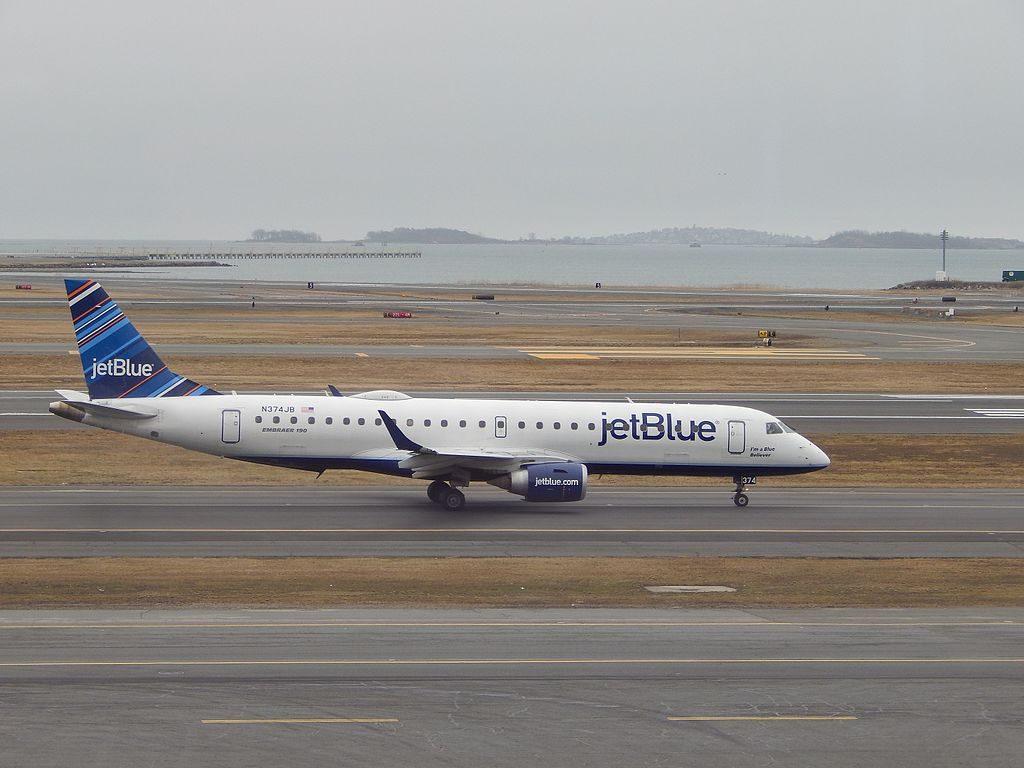 Embraer ERJ190 100IGW N374JB Im A Blue Believer JetBlue Airways Regional Jet Aircraft Fleet at Logan International Airport