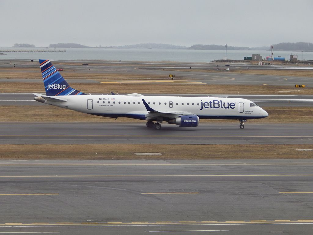 Embraer ERJ190 N375JB Blue State of Mind JetBlue Airways Regional Jet Aircraft Fleet at Logan International Airport