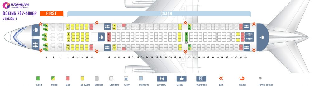 First cabin seat map and seating chart Boeing 767 300ER 763 V1 Hawaiian Airlines