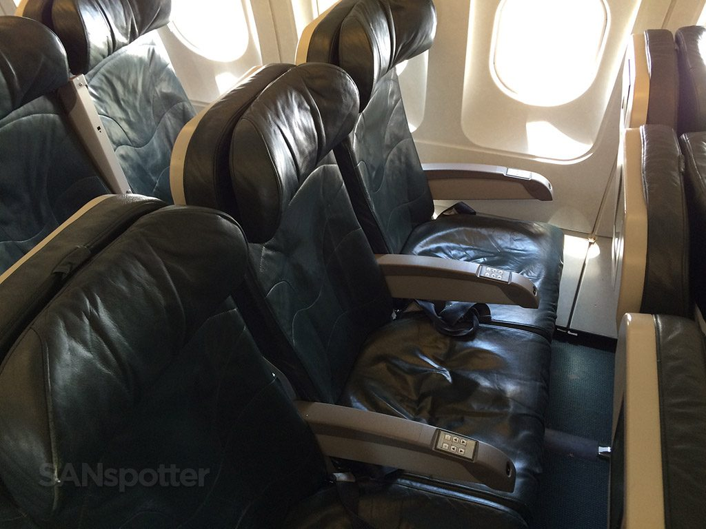 Frontier Airlines Airbus A319 100 Economy cabin standard green leather seats 19A B and C @SANspotter