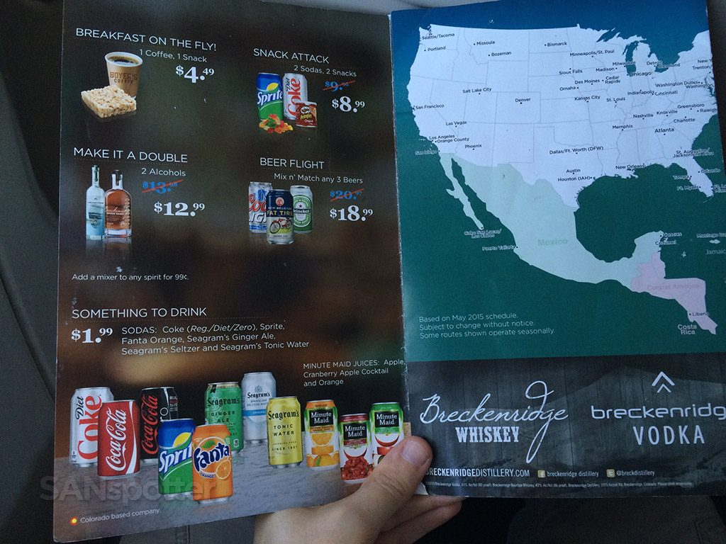Frontier Airlines Airbus A319 100 Economy cabin standard seating inflight buy on board food drink menu