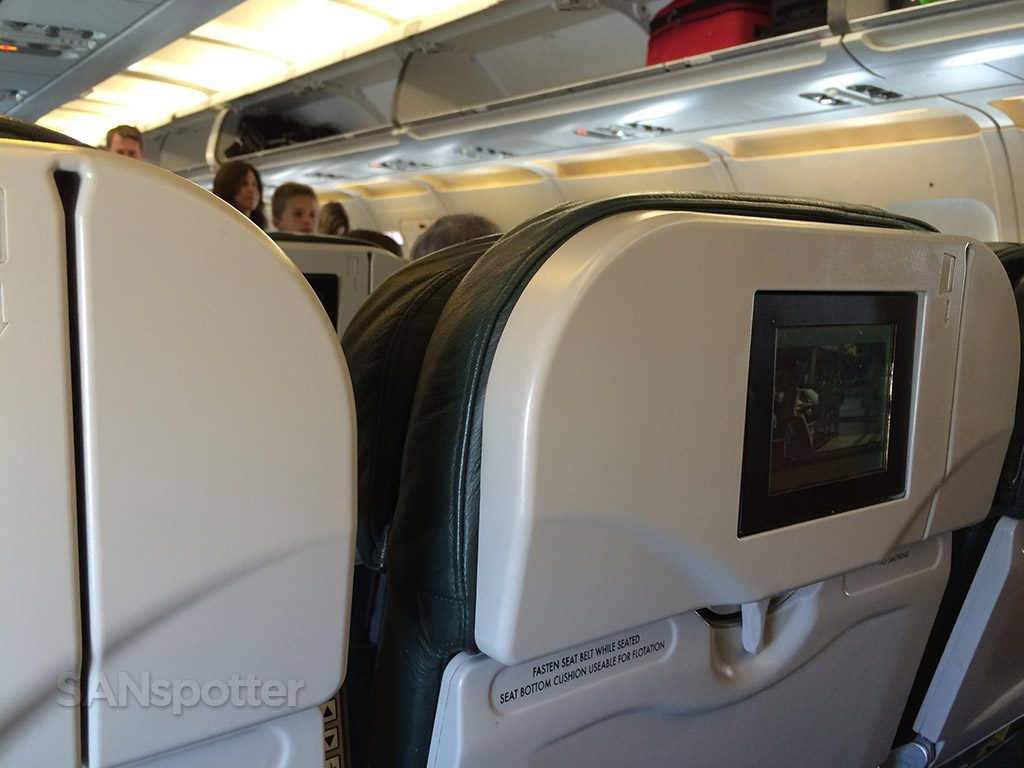 Frontier Airlines Airbus A319 100 Economy cabin standard seats with entertainment system screen @SANspotter