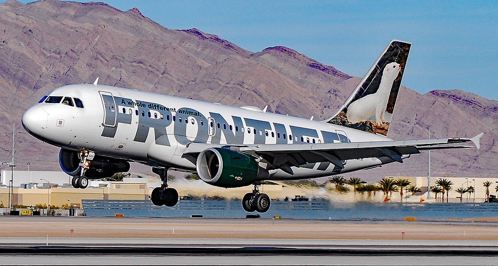 Frontier Airlines Airbus A319 100 N949FR Erma the White Ermine at McCarran International LAS KLAS USA