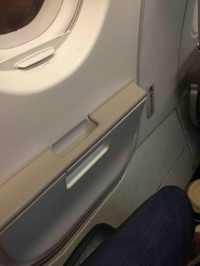 Frontier Airlines Airbus A319 100 cabin Slight bulge in exit row stretch seat
