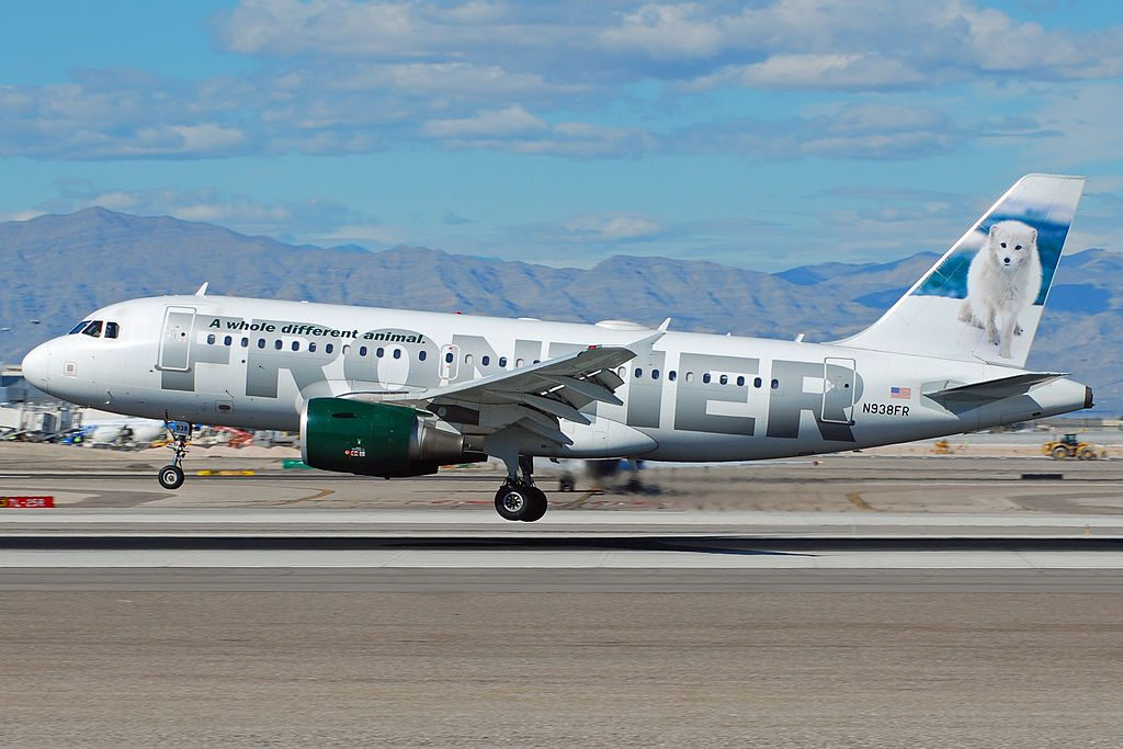 Frontier Airlines Airbus A319 111 N938FR Misty the Arctic Fox landing at McCarran International Airport