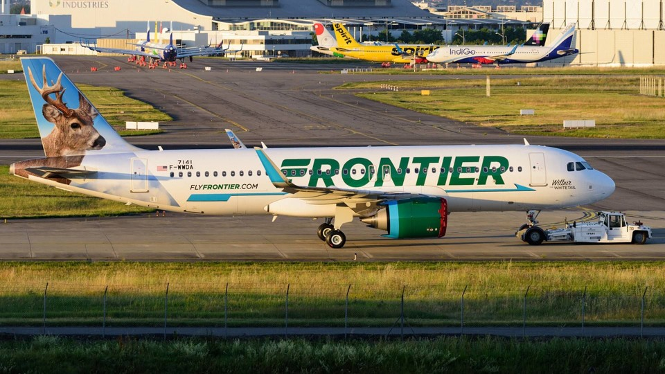 Frontier Airlines Airbus A320 251neo N301FR Wilbur the Whitetail getting a tow at Toulouse Blagnac 1