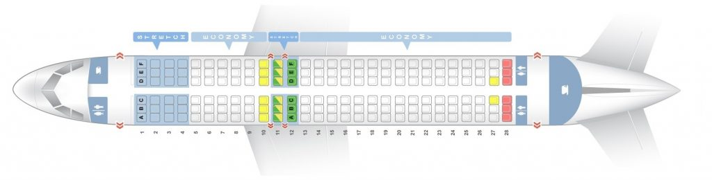 Frontier Airlines Airbus A320Neo Cabin Seating chart and Seat map