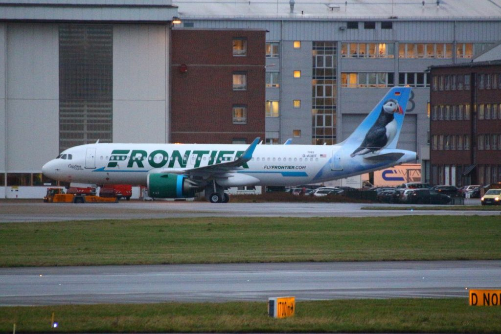 Frontier Airlines Airbus A320neo N322FR Captain the Puffin aircraft photos