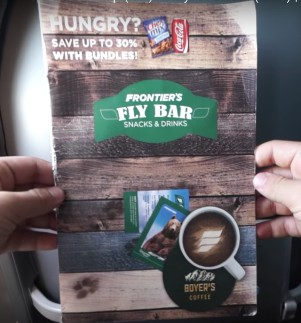 Frontier Airlines Airbus A321 200 On Board Services Snacks and Beverages Menu