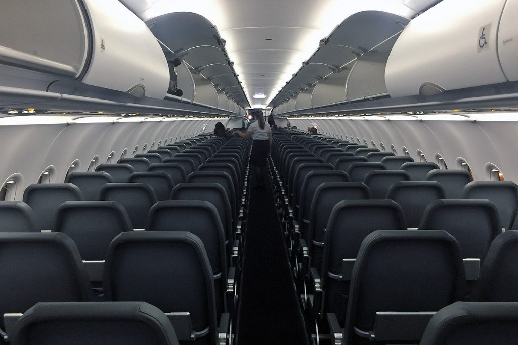 Frontier Airlines Airbus a320neo single class 186 seat passenger cabin boasts a 33 seating arrangement
