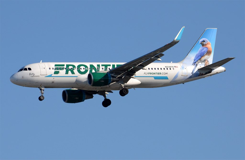 Frontier Airlines Betty the Bluebird Livery A320 214 N230FR LAX Approach