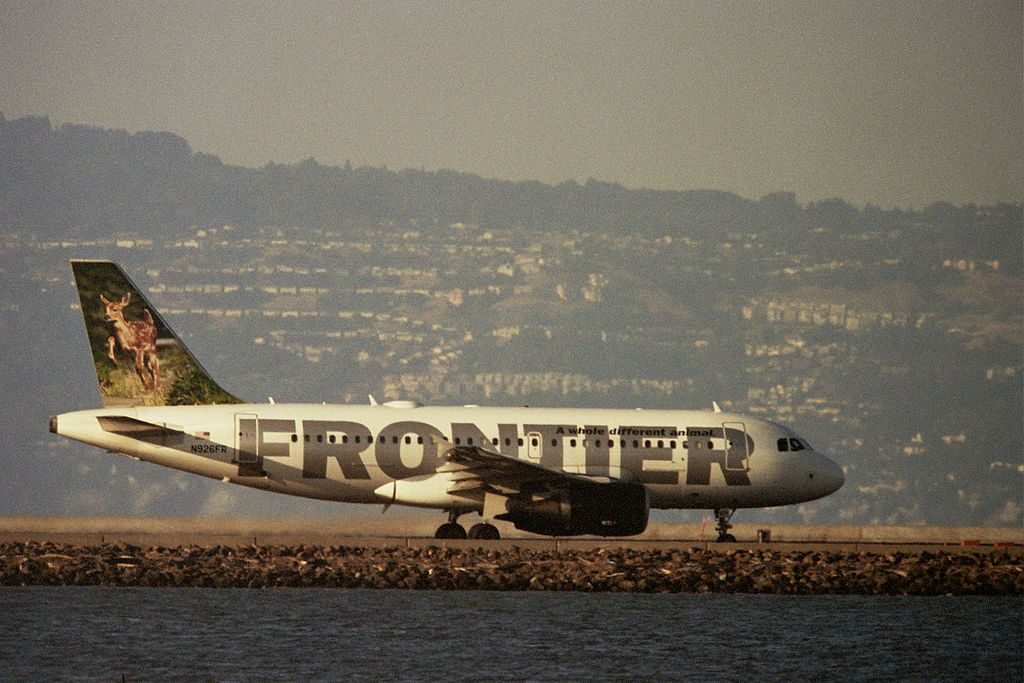 Frontier Airlines Domino Black Tail Deer Fawn Airbus A319 111 N926FR taxiing on runway at SFO Airport