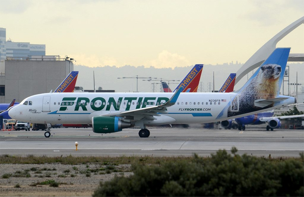 Frontier Airlines Marty the Marmot Livery A320 200 N236FR LAX Taxiway