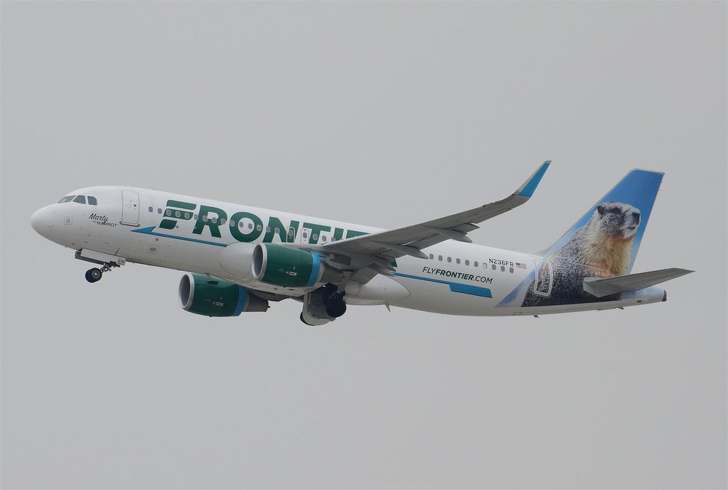 Frontier Airlines Marty the Marmot Livery A320 214 N236FR LAX Takeoff